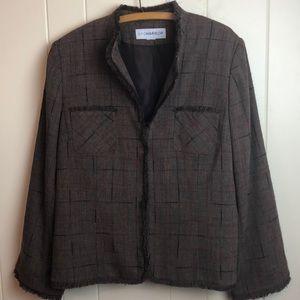 3/$27 Sag Harbor Brown Blazer W/ Frayed Hems